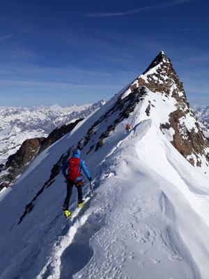 Gipfelanstieg, Nordend, Skihochtour, Monterosa