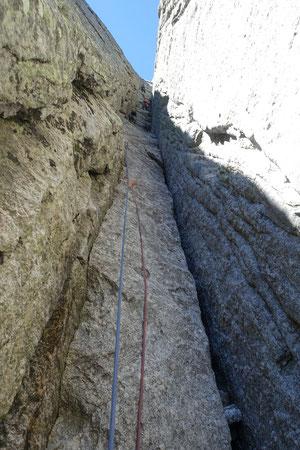Piz Badile, Nordwand, Via Cassin, Ausstiegskamine