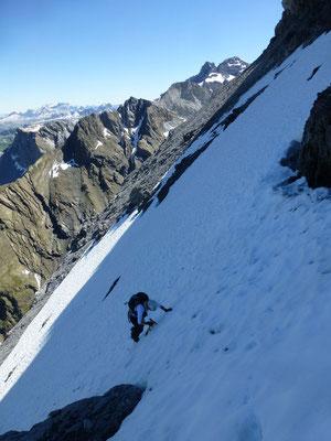 Gross Ruchen Nordwand, Bergtour, Hochtour, Uri, Klausenpass, Traverse zum Ausstiegscouloir