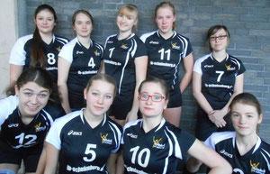 hinten von links: Rebecca,  Inken, Anita, Rieke, Valeria; vorn von links: Jette, Jessi, Rachel, Annika