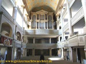 Greiz Stadtkirche Kirchenführung Stadtführung Orgelspiel Orgel