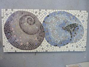 Mosaikbild, Schneckenhäuser, klassische Legetechnik