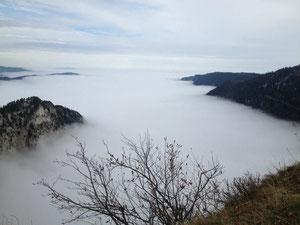 Ausblick vom Creux-du-Van über das Nebelmeer