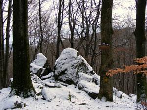 Wildweibchenstein vom Weg aus gesehen