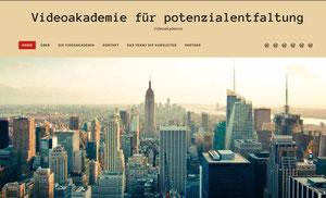 """Mein Entwurf für die Webseite der """"Videoakedemie für Potenzialentfaltung"""" in Wordpress im Vorschau modus"""