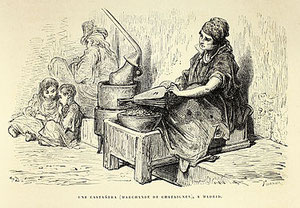 ''Castañera de Madrid'', dibujada por Doré en 1862. Foto: (cc) Wikipedia.org