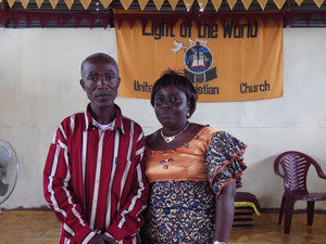 Pastor George and his wife in the church