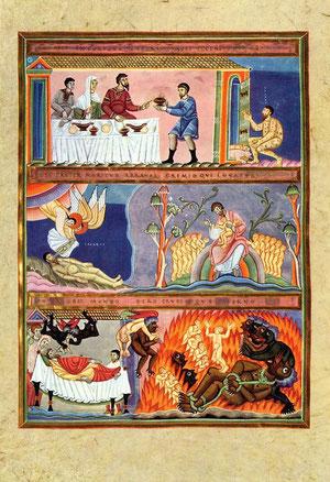 Lazarus und der Reiche, 11. Jh. Codex Aureus Epternacensis