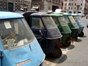 Typical 3 wheeled 'tuck tucks' lined up near Piazza Navona