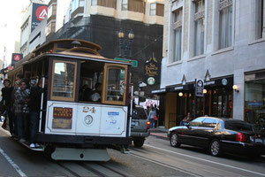 Cable Car in front of Starbucks on Powell Street