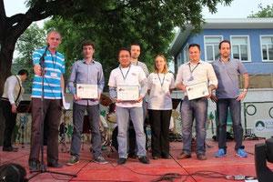Les lauréats avec leur diplôme : David Chérel (Olmix), David Lam (Jimax) et Philippe Malléjac (iG SolTherm).
