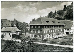 Luthern Bad, Postkarte mit Erziehungs- und Ferienheim Maria Heilbrunn, Foto Kopp Zürich, Poststempel Luthern-Bad 7.6.1950  (LB 18)