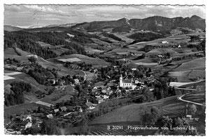 Luthern, Fliegeraufnahme B 20291, Ansichtskarte  abgeschickt 12.3.1958, Feldpost  (LD 22)