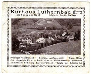 """Luthern Bad, Kurhaus, später Hirschen, Werbekarte Familie Galliker, rückseitig als Rechnungs-""""Nota"""" vorgedruckt  (Hi 4)"""