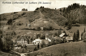 Luthern Bad, Postkarte Kurhaus Luthernbad ob Luthern, Poststempel Luthern-Bad, Datum unlesbar  (LB 9)