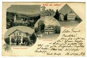 Luthern Dorf, Postkarte Gruss aus Luthern, Poststempel Luthern 1.10.1901  (LD 7)