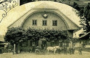 Luthern Dorf, Ausschnitt aus Postkarte Gruss aus Luthern, Verlag S. Birrer, zur Sonne Luthern, Poststempel Luthern 2.1.1914  (So 2)