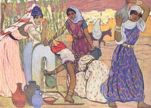 A. Sureda, Frauen an einem Brunnen in Tlemsen, 1916