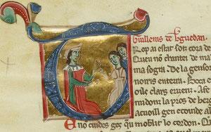 Guillem de Berguedà (1130-1195?), Streitbarer Troubadour und Graf ( Miniatur Nationalbibliothek Paris)