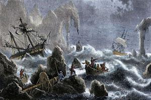 ベーリングの船はアリューシャン列島で難破した(Wikipedia)