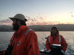 USGSの野生生物研究者ジョシュ・アダムス(右)が仲間と早朝に海鳥の調査へ赴く。(Credit: Emily (Emma) Kelsey, USGS Western Ecological Research Center)