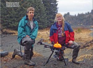 ブレンダ・コナーとカトリン・アイケンとGoProカメラを装備した「ターミガン」六回転翼機