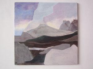Ellen Roß: Le lande deserte, Acryl auf Holz, ca. 22 x 22 cm