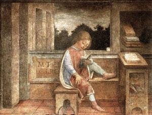 Vincenzo Foppa - Fanciullo che legge Cicerone- Falso d'autore -Originale: Wallace Collection, Londra-affresco1464