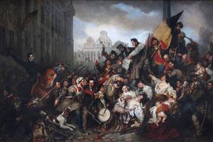 Épisode des journées de septembre 1830 où l'on reconnaît Louis de Potter embrassant le drapeau belge, Gustave Wappers (1834), musées royaux des beaux-arts de Belgique.