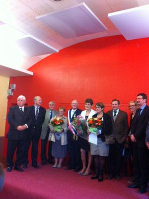 Après la visite, les discours et les remises de médaille d'honneur régionale, départementale et communale dans la salle des fêtes