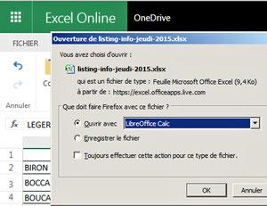 Ouvrir un fichier Excel avec LibreOffice