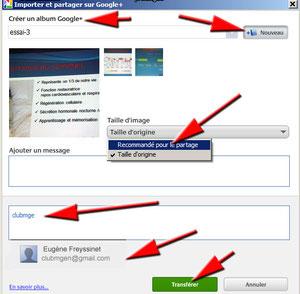 Exportation et partage de photos avec Picasa