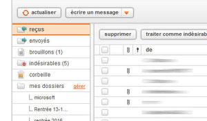 Les différents dossiers de la messagerie Orange
