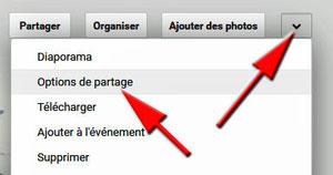 Options de partage avec Picasa