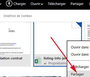 Partage d'un document sur OneDrive