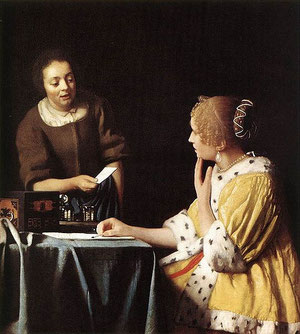 Jan Vermeer, Lady with Her Maidservant Holding a Letter, ca. 1667 Baroque fashion, Barock Mode, matinee jacket