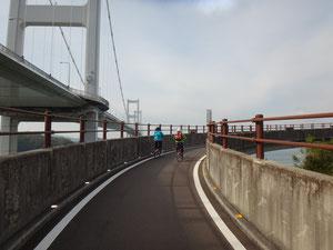 しまなみ海道で最長の来島海峡大橋(4,105㍍)