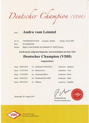 Andra wurde der Titel Deutscher Champion-VDH zuerkannt