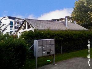 Fitze Dach AG der Dachdecker, zeigt einen Gemeinschaftsraum mit Eternitdach, die gleiche Lösung ist auch ideal als Dach für Garageneinfahrten