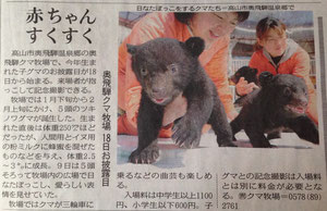 【奥飛騨クマ牧場】中日新聞で紹介されていました☆
