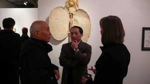 At the opening of exhibition at Blackfish Gallery (center), Jan. 2010