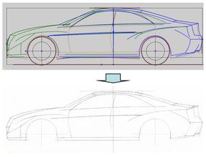 図10)側面図の手書化