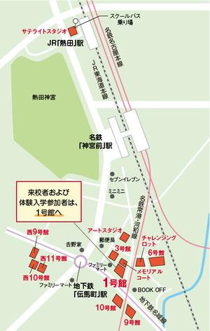 名古屋工学院専門学校へのアクセス案内図