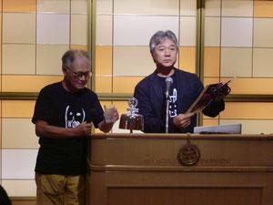 お話いただいている川島猛氏(左側)と三井文博氏(右側)