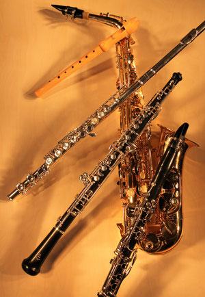 Blockflöte, Querflöte, Oboe, Klarinette und Saxophon