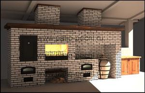 Фото барбекю комплекса с мангалом, коптильней, казаном, тандыром, вертелом, каминной вставкой, с легким навесом