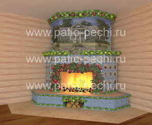 изразцовый камин с функцией обогрева верхних этажей