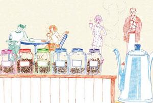 「コーヒーと恋愛(可否道)」獅子文六著  デザイン:折原カズヒロ イラストレーション:古屋智子