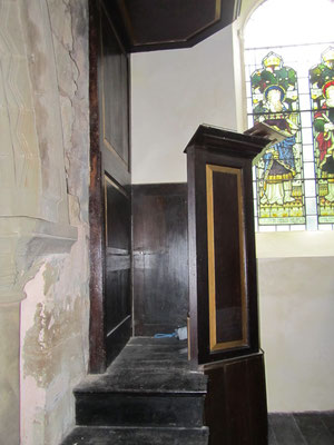 The 18th-century wooden pulpit