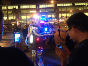 Dancing robot, outside of San Diego convention center. It also boxed.